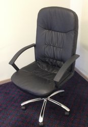 Black Faux Leather Gas-lift Office chair